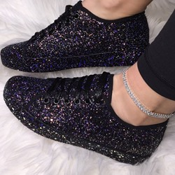 Shoespie Stylish Round Toe Low-Cut Upper Sequin Casual Sneakers