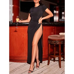 Split Floor-Length Short Sleeve Pullover Women's Dress