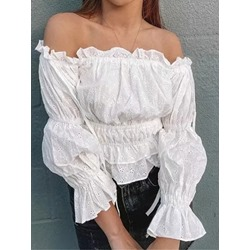 Plain Off Shoulder Hollow Standard Women's Blouse