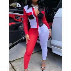 Ankle Length Pants Color Block Button Single-Breasted Women's Two Piece Sets