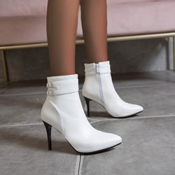 Shoespie Sexy Pointed Toe Plain Side Zipper Short Floss Boots