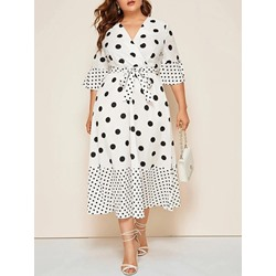 Mid-Calf V-Neck Three-Quarter Sleeve Flare Sleeve Women's Dress