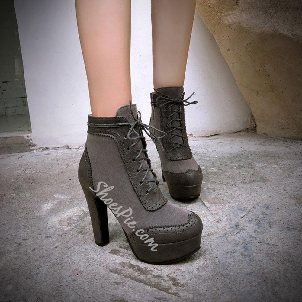 Shoespie Sexy Patchwork Lace-Up Front Stiletto Heel Lace-Up Boots