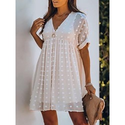 V-Neck Short Sleeve See-Through A-Line Women's Dress