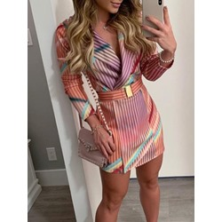 Long Sleeve Belt Above Knee Pencil Women's Dress