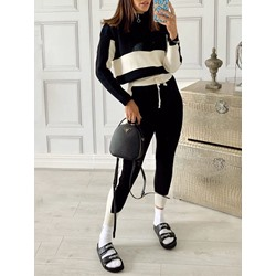 Polyester Color Block Breathable Ankle Length Long Sleeve Clothing Sets
