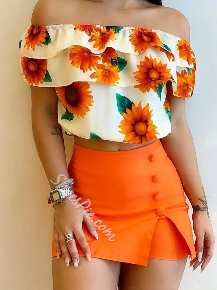 Shorts Fashion Button Pullover Women's Two Piece Sets