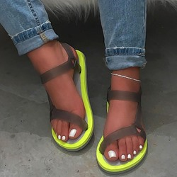 Shoespie Trendy Flat With Buckle Round Toe Plain Sandals