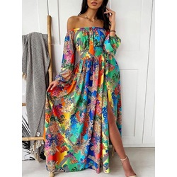 Print Long Sleeve Off Shoulder Lantern Sleeve Women's Dress