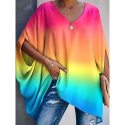 Mid-Length Color Block Half Sleeve Loose Women's T-Shirt