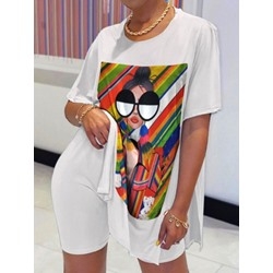 T-Shirt Sports Color Block Pullover Women's Two Piece Sets
