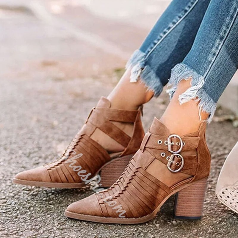 Shoespie Trendy Plain Chunky Heel Pointed Toe Western Boots