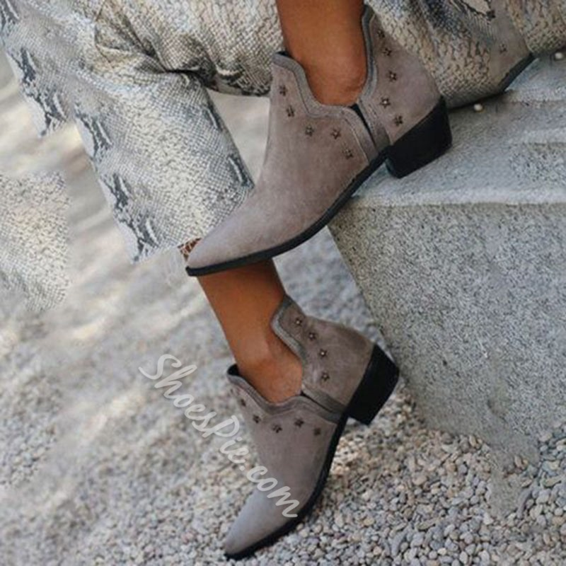Shoespie Stylish Plain Chunky Heel Pointed Toe Vintage Boots
