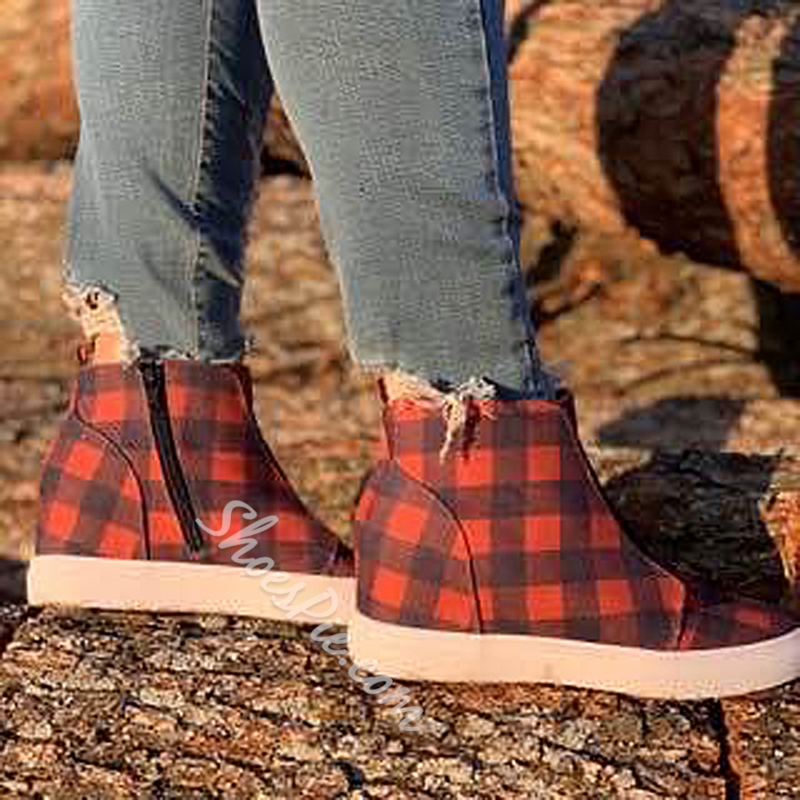 Shoespie Sexy Round Toe Side Zipper Plaid Casual Boots