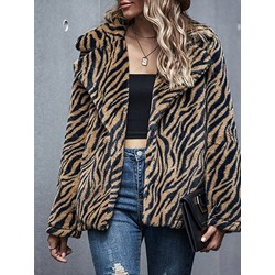 Stripe Mid-Length Lapel Loose Women's Faux Fur Overcoat