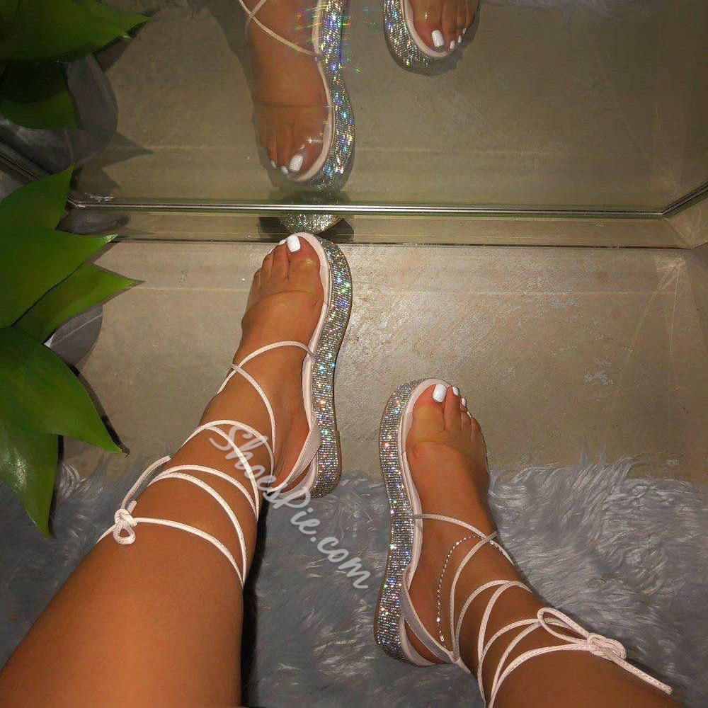 Shoespie Sexy Open Toe Platform Lace-Up Western Sandals