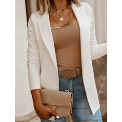 Notched Lapel Plain Long Sleeve Formal Women's Casual Blazer