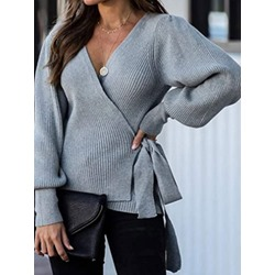 Lantern Sleeve Lace-Up Thin V-Neck Women's Sweater