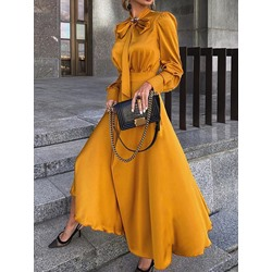 Long Sleeve Ankle-Length Bow Collar Fall Women's Dress