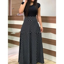 Short Sleeve Print Round Neck Mid Waist Women's Dress