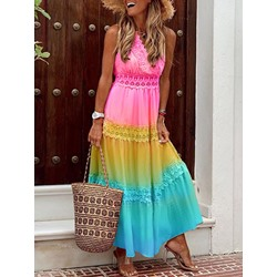 V-Neck Ankle-Length Sleeveless Summer Women's Dress