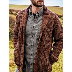 Patchwork Lapel Standard Loose Winter Sweater