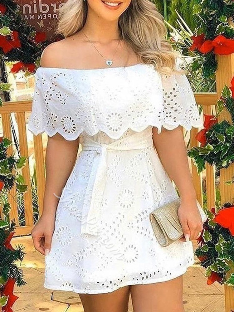 Lace-Up Above Knee Off Shoulder High Waist Women's Dress
