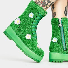 Shoespie Trendy Lace-Up Front Round Toe Floral Thread Boots