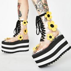 Shoespie Stylish Round Toe Lace-Up Front Floral England Boots
