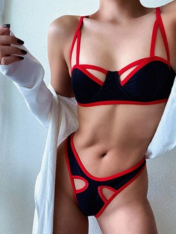 Sexy Patchwork Color Block Women's Swimwear
