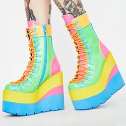 Shoespie Stylish Color Block Round Toe Lace-Up Front Western Boots
