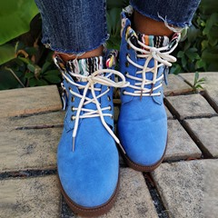 Shoespie Stylish Lace-Up Front Block Heel Round Toe Thread Boots