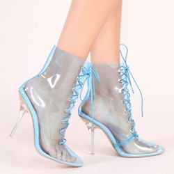 Shoespie Sexy Lace-Up Front Pointed Toe Stiletto Heel Cross Strap Boots