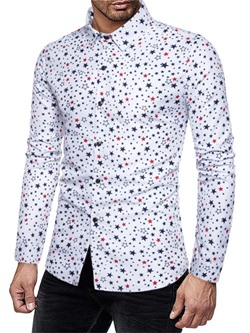 Print Lapel Geometric Single-Breasted Slim Shirt