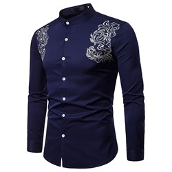 Stand Collar Casual Embroidery Slim Spring Shirt