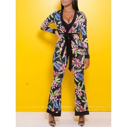 Pants Patchwork Floral V-Neck Women's Two Piece Sets