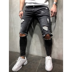 Plain Hole Pencil Pants Hip Hop Zipper Jeans