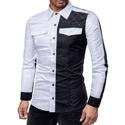 Patchwork Lapel Korean Single-Breasted Slim Shirt