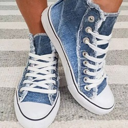 Shoespie Stylish Thread High-Cut Upper Closed Toe Denim Sneakers