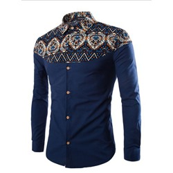 Print Lapel Floral Slim Fall Shirt