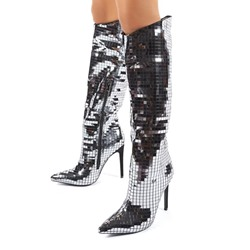 Shoespie Trendy Pointed Toe Stiletto Heel Side Zipper Sequin Boots