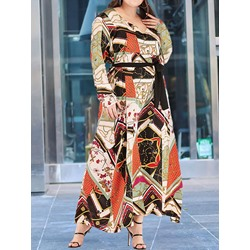 Long Sleeve Ankle-Length Print Casual Women's Dress