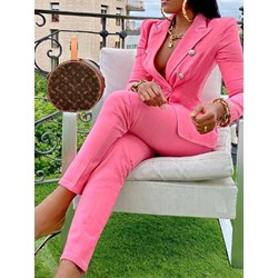 Plain Office Lady Coat Notched Lapel Women's Two Piece Sets