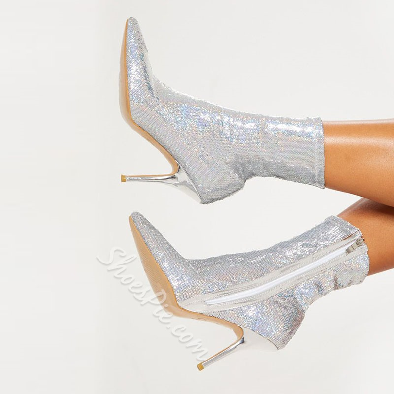 Shoespie Stylish Plain Pointed Toe Stiletto Heel Sequin Boots
