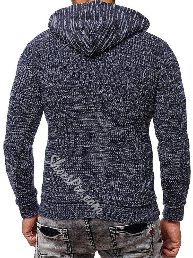 Standard Patchwork Hooded Winter Slim Sweater
