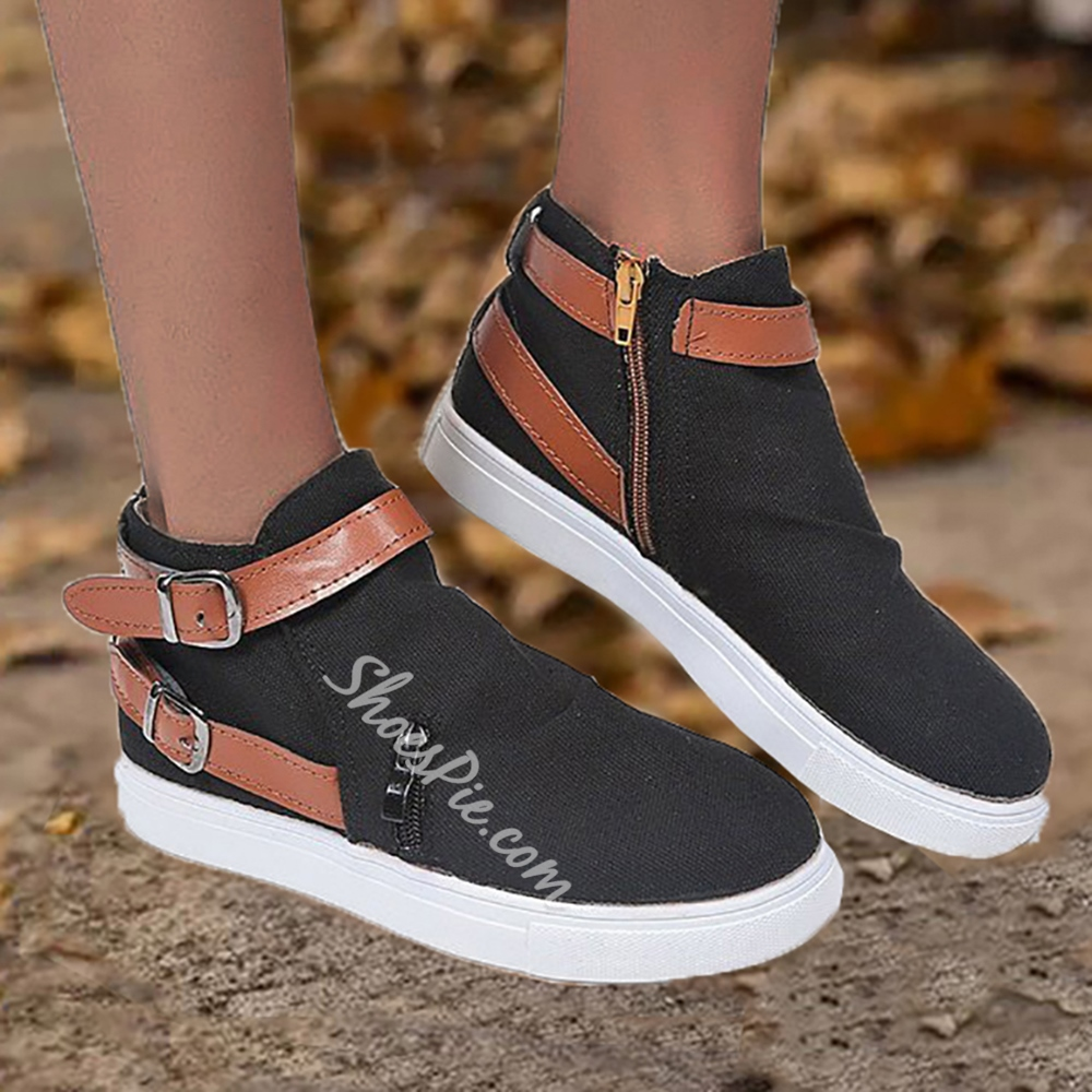 Shoespie Stylish Zipper Zipper Closed Toe Flat With Sneakers