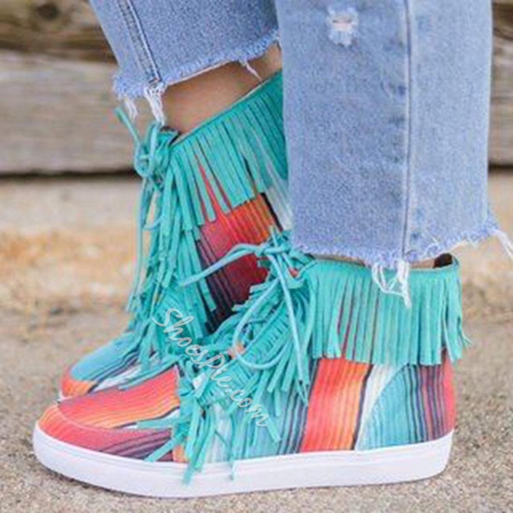 Shoespie Sexy Color Block Round Toe Lace-Up Front Cross Strap Boots