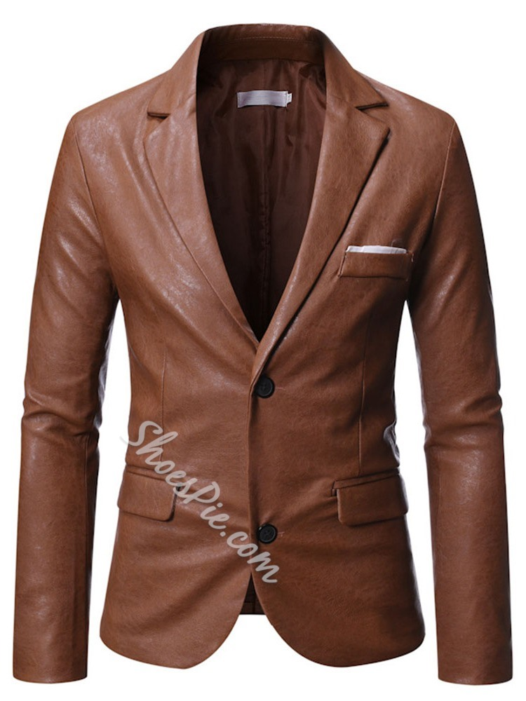 Plain Notched Lapel Standard Fall Slim Leather Jacket