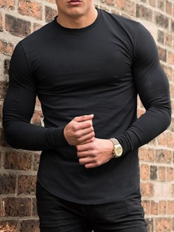 Casual Round Neck Plain Long Sleeve Pullover T-shirt