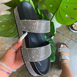 Shoespie Trendy Slip-On Flip Flop Rhinestone Western Slippers